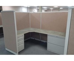 "Pre-Owned ""5x7 1/2"" L-shaped Cubicle/Modular Station W/Tall Panels"