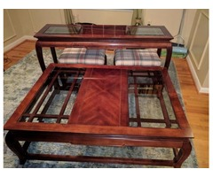Coffee and Sofa Table with 2 Ottomans