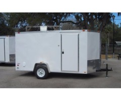 "6x12 ENCLOSED TRAILER, RAMP, V NOSE, LEDS, 6' 3"" INTERIOR ""WHITE"""