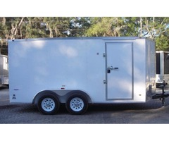 6X14 TANDEM AXLE ENCLOSED TRAILER, RAMP, V NOSE, LEDS, 6' 3""