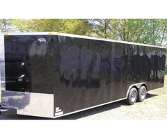8.5x24 Black Enclosed Car Hauler w/ V-nose front & Brakes