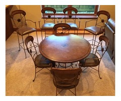 "42"" Table w/4chairs PLUS 4 matching bar stools"