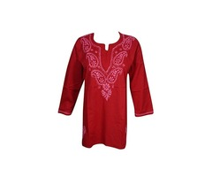 Womens Tunic Top Cotton Chikan Bohemian Indian Shirt S