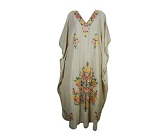 Womens Caftan Gaia Maxi Dress Floral Embroidered Kaftan Cover Up