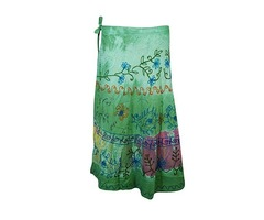 Wrap Around Skirt Embroidered Tie Dye Rayon Beach Cover Up Summer Skirts