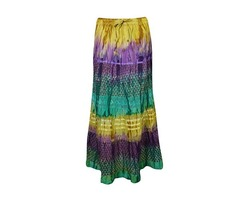 Womens Gypsy Skirt Colorful Tie Dye Vintage A-line Flare Boho Long Skirts