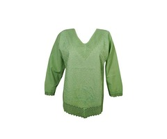 Womens Embroidered Cotton Long Sleeves Boho Hippie Top Blouse Shirt
