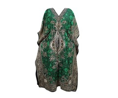 Women's Kaftan Boho Dresses Green Caftan Cover up Dashiki Beach Dress One Size
