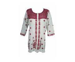 Womens Gypsy Tunic Top Floral Embroidered Cotton Boho Chic White Blouse