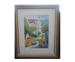 A pair of watercolor paintings,,and other items