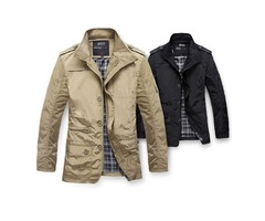 Men Trench Coat Mens casual winter jacket