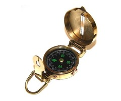 """Compass - 2"""" - Solid Brass w/ Wooden Box - Nautical - NEW"""