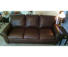 Dark Brown Leather Queen Couch/Bed