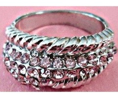 Silver Tone Size 7 Ring With Pink Crystals