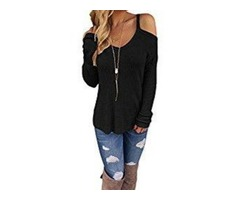Leindr Women's Casual Long Sleeve Cold Shoulder High-low Knit Pullover Sweaters