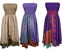 Womens 2 In 1 Dress and Maxi Skirt Vintage Sari Two Layer Printed Wholesale lot of 3 pcs