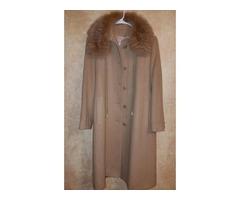 Cream Casmere Coat with Mink collar