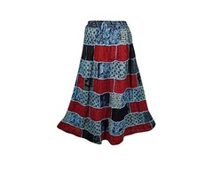 Womens Patchwork Skirts Vintage Pretty Mystic Mojo Ethnic Printed Long Skirts