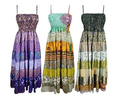 Wholesale Lot Of 3 Pcs Womens Holiday Dress Recycled Vintage Sari Patchwork Maxi Dresses