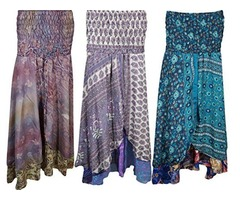 Womens Vintage Sari Two Layer Printed 2 In 1 Dress and Maxi Skirts Wholesale lot of 3 pcs