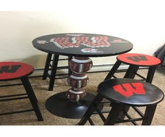 Badger football themed table and stools