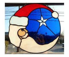 Santas in Stain Glass