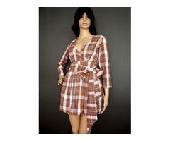 Petite Fit Crossover Belted Check Dress-Sm, Med, Large, XL