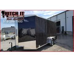 New 7 x 16 + V-nose Enclosed Cargo Trailer Tulsa OK