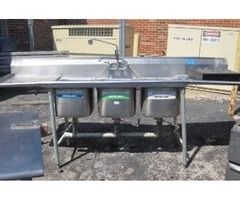 EAGLE 3 COMPARTMENT S/S SINK WITH L&R DRAINBOARDS 3767CC