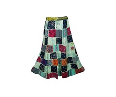Womens Patchwork Skirts Artistically Inspired Flowy Vintage Ethnic Long Skirts