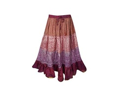 Womens Long Maxi Skirt Vintage Recycled Sari Full Flare Belly Dance Tiered Skirts