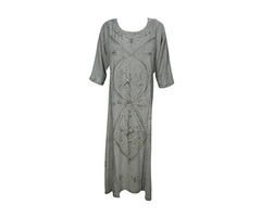 Womens Maxi Dresses Enzyme Wash Floral Embroidered Tunic Maxi Dress XL