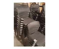Lot of 200 stackable chairs and 75 tables in excellent condition