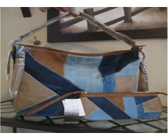 Kensie Algiers Hobo and Kensie Algiers Wristlet Saddle Denim Set