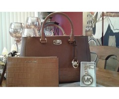 3 MK items MICHAEL KORS KELLEN LEATHER SATCHEL & LG Leather Clutch