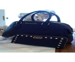 MICHAEL KORS HATTIE BOWLING BAG IN NAVY & MK STUDDED WALLET