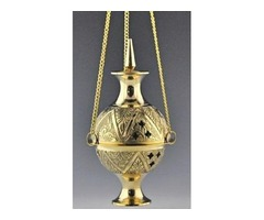 Beautiful Carved Brass Hanging Censer Incense Burner