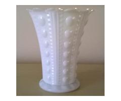 WHITE MILK GLASS FLOWER VASE