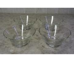 CLEAR GLASS DESSERT/SALAD/SNACK BOWLS-SET OF 4