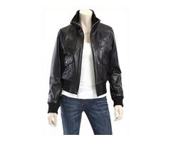 Black Leather Bomber Jacket Women