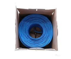 1000ft Cat5e Plenum Bare Copper Ethernet Networking Cable UTP 24Awg 350Mhz Blue