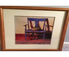 Picture of the blue chair-Ned Young-framed
