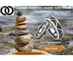 Lasered Tungsten Ceramic Ring White