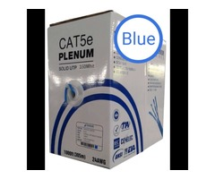 1000ft Cat5E Plenum Ethernet Networking Cable 24Awg UTP 350Mhz Blue