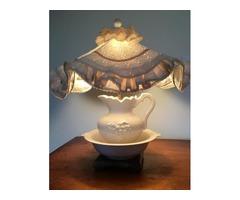 Oak furniture, 2 china cabinets,table, lamp