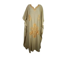 BOHEMIAN CAFTAN FLORAL EMBROIDERED ETHNIC INDIAN RESORT WEAR COVER UP DRESS