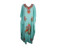 MOROCCAN CAFTAN Turquoise Green ETHNIC FLORAL EMBROIDERED RESORT WEAR MAXI DRESS