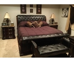 King size Sliegh adjustable bedroom suite with bench