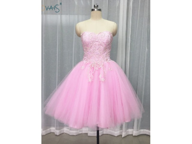 Sweetheart puffy mini skirt short prom dresses with applique