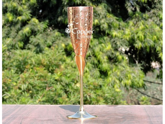 Shop for our Intricately Designed Brass Champagne Glass with Copper Lining | free-classifieds-usa.com